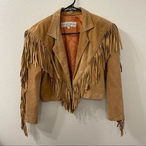 Lillie Rubin leather fringe jacket brown vtg small